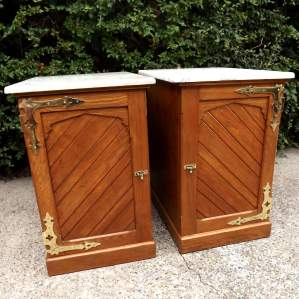 Victorian Gothic Pair Oak Bedside Cabinets with Campaign Drawers