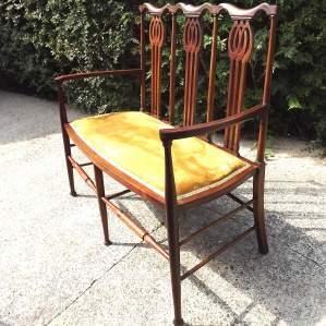 Original Circa 1900 Art Nouveau Inlaid Mahogany Parlour Settee