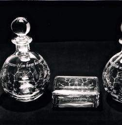 Decoratively Etched Glass Holy Communion Set in a Fitted Chest