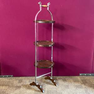 1930s Mahogany and Chrome Framed Folding Cake Stand