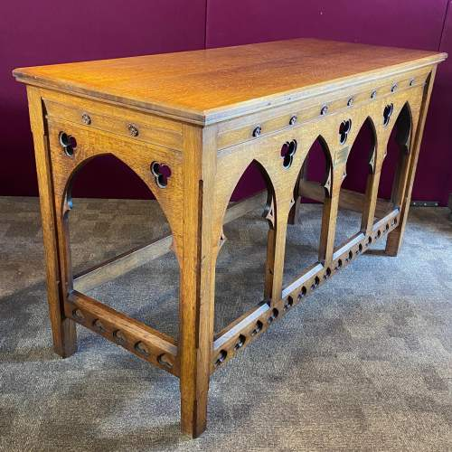 Early 20th Century Ecclesiastical Oak Alter Table image-1