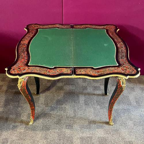 19th Century Louis XV Style French Boulle Serpentine Foldover Table image-5