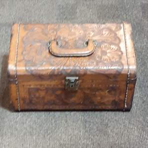 Antique Artmex Mexican Tooled Leather Trunk Circa 1890