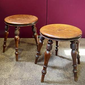 Near Pair of 19th Century Mahogany Five Leg Stools
