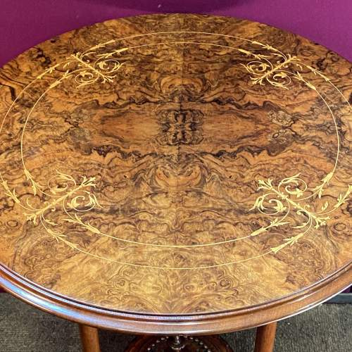 19th Century Burr Walnut Occasional Table with Boxwood Inlay image-2