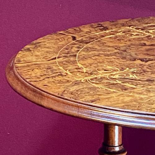 19th Century Burr Walnut Occasional Table with Boxwood Inlay image-4