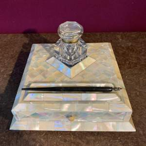 Stunning Victorian Desk Stand With Mother of Pearl Parquetry