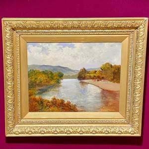 19th Century Sidney Watts River Scene Oil on Canvas