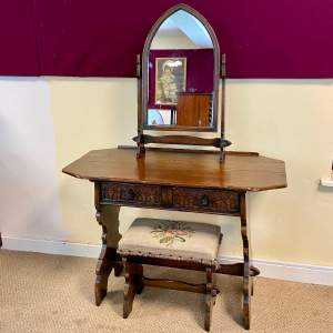 Gothic Revival Oak Side Table Mirror and Stool
