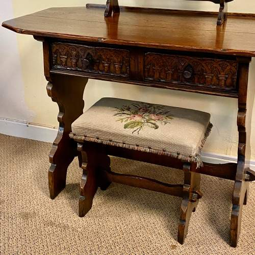Gothic Revival Oak Side Table Mirror and Stool image-2
