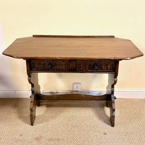 Gothic Revival Oak Side Table Mirror and Stool image-3
