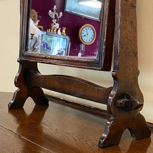 Gothic Revival Oak Side Table Mirror and Stool image-4