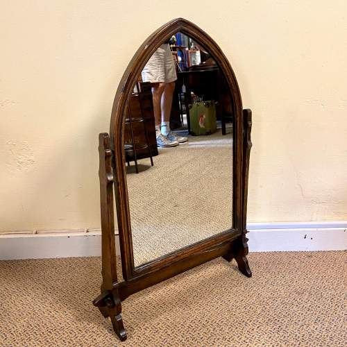 Gothic Revival Oak Side Table Mirror and Stool image-5