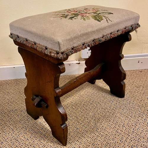 Gothic Revival Oak Side Table Mirror and Stool image-6