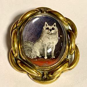 19th Century Essex Crystal of a Dog in a Pinchbeck Frame