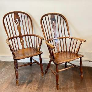 Near Pair of 19th Century Ash and Elm Windsor Chairs