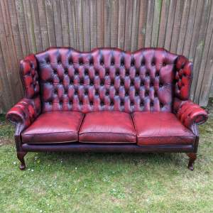 Red Oxblood Leather Chesterfield Wingback Sofa