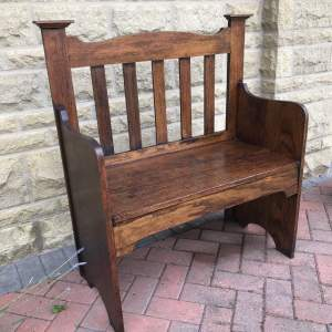 A Small Oak Arts and Crafts Bench