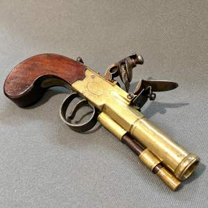 Early 19th Century Flintlock Blunderbuss Pistol by P.Bond