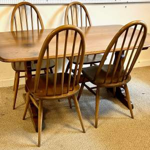 Ercol Golden Dawn Refectory Table and Four Dining Chairs