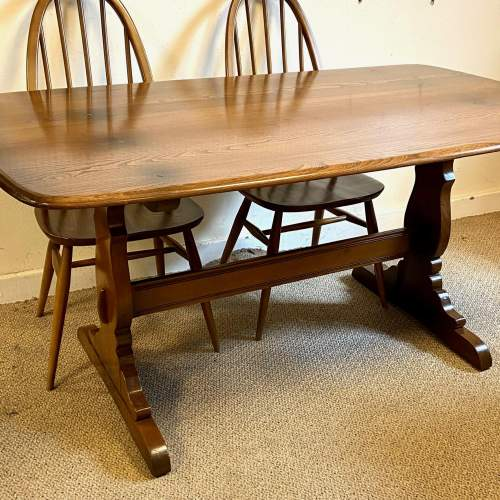 Ercol Golden Dawn Refectory Table and Four Dining Chairs image-2