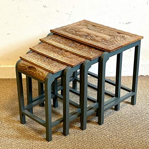 Nest of Four Oriental Carved Tables image-1