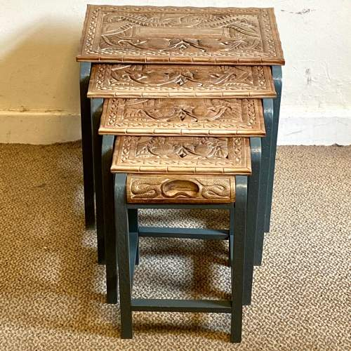 Nest of Four Oriental Carved Tables image-4