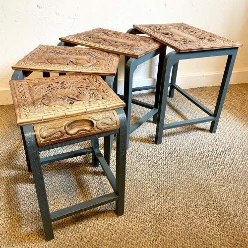 Nest of Four Oriental Carved Tables image-3