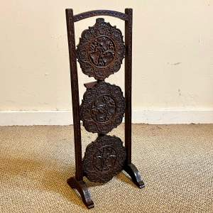 Heavily Carved Three Tier Folding Cake Stand