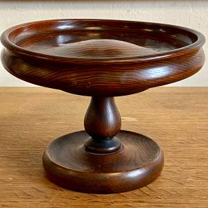 Vintage Hand Turned Oak Pedestal Fruit Bowl