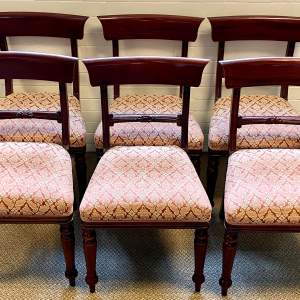 Set of Six 20th Century Regency Style Mahogany Dining Chairs