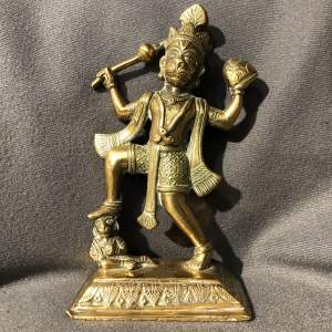 Antique Brass Indian Figure of Hanuman the Monkey God