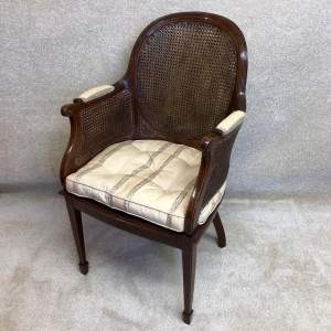 Late 19th Century Mahogany Double Caned Elbow Chair