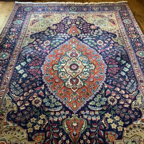 Superb Old Hand Knotted Persian Rug Kashmar Floral Medallion image-1