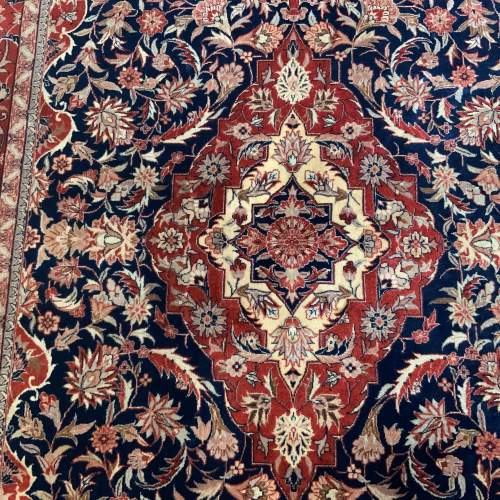 Superb Old Hand Knotted Persian Rug Kashmar Floral Medallion image-2