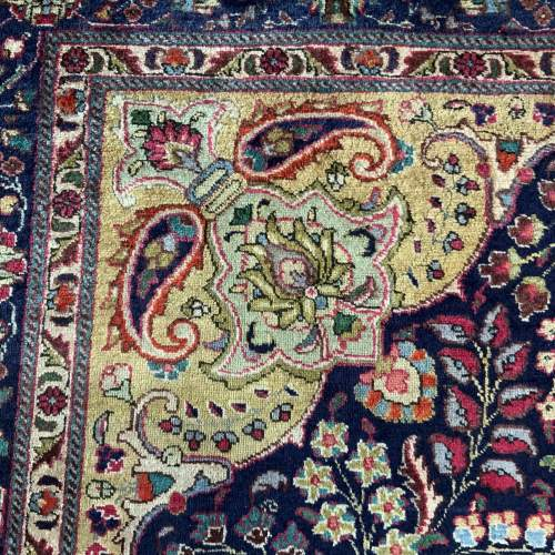 Superb Old Hand Knotted Persian Rug Kashmar Floral Medallion image-3