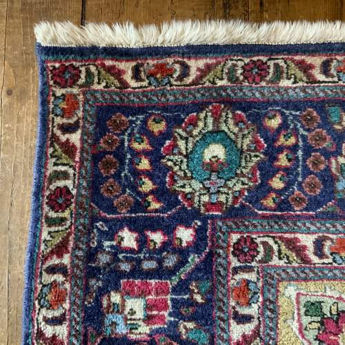 Superb Old Hand Knotted Persian Rug Kashmar Floral Medallion image-4