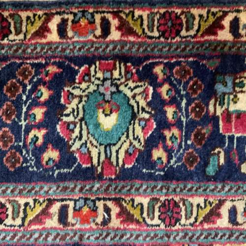 Superb Old Hand Knotted Persian Rug Kashmar Floral Medallion image-6