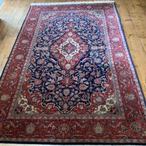 Old Hand Knotted Persian Rug Kashan Superb Design And Colours