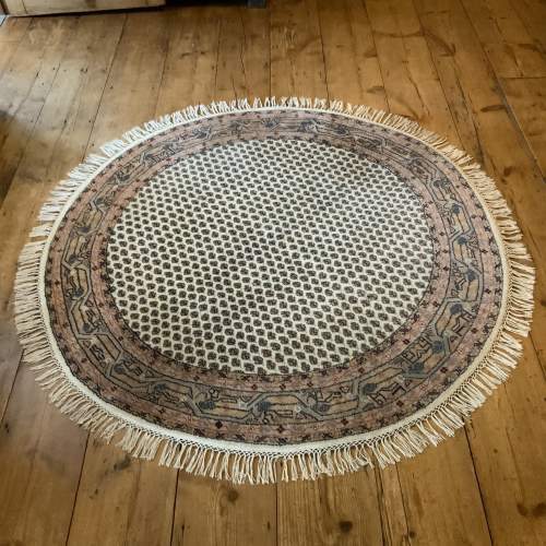 Old Hand Knotted Persian Round Rug Mir Seraban Very Unusual Piece image-1