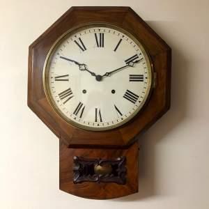 19th Century Walnut Drop Dial Wall Clock
