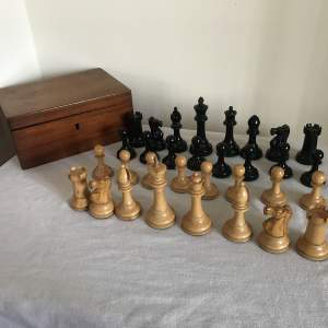 A Complete 1930s Staunton Boxwood and Ebony Chess Set