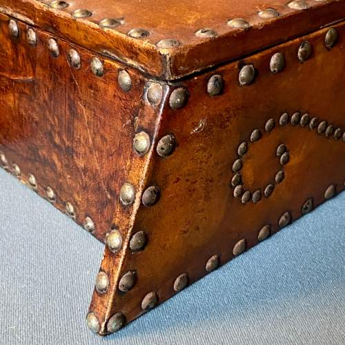 Early 20th Century Handmade Leather Bound Wooden Hanging Cupboard image-6