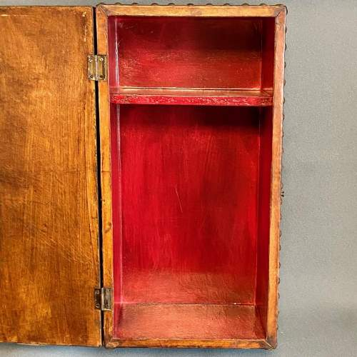 Early 20th Century Handmade Leather Bound Wooden Hanging Cupboard image-4