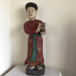 19th Century Carved Wood Polychrome Chinese Deity Figure