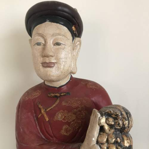 19th Century Carved Wood Polychrome Chinese Deity Figure image-2