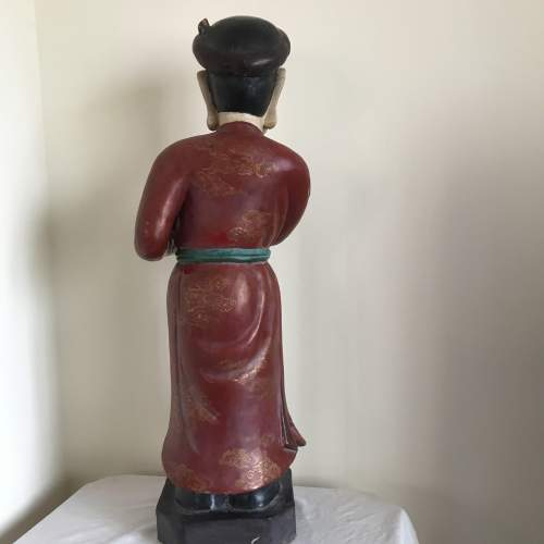 19th Century Carved Wood Polychrome Chinese Deity Figure image-3