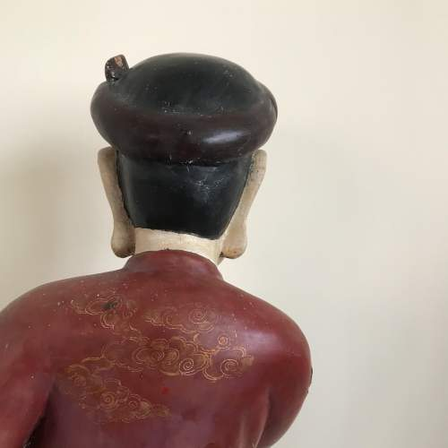 19th Century Carved Wood Polychrome Chinese Deity Figure image-5