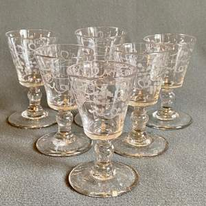 19th Century Set of Six Wine Glasses