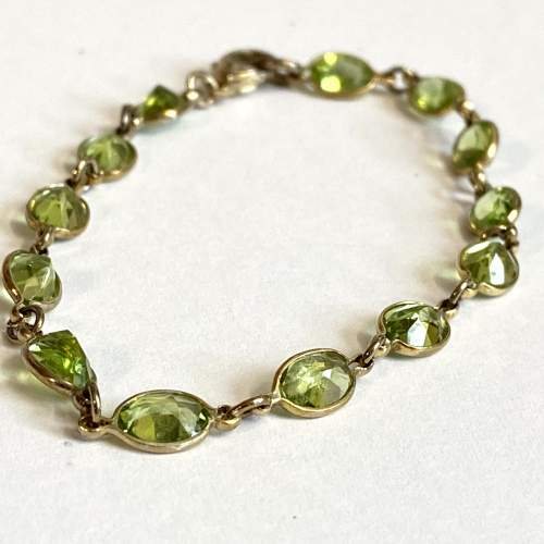 18ct Gold Plated over Silver and Peridot Bracelet image-1